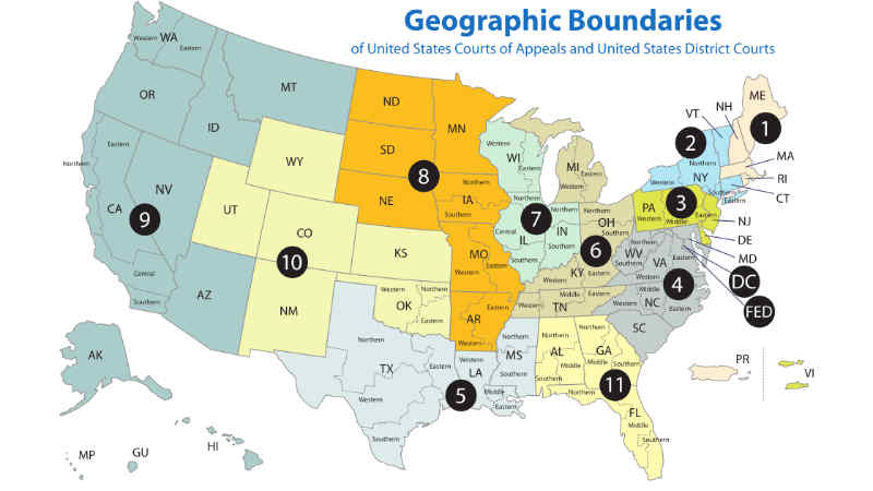 US Court of Appeals District Boundary Map